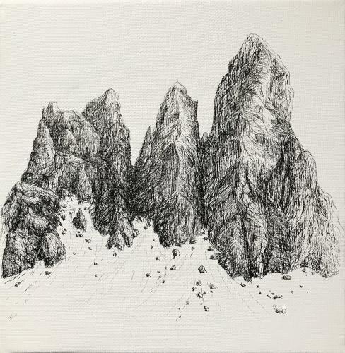 Dolomiti (2020), inchiostro su tela di lino, 20x20 cm  Dolomites (2020), ink on linen canvas, 20x20 cm