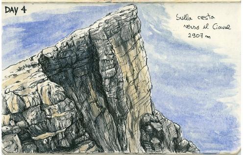Sketchbook - Verso il monte Ciaval (2019), inchiostro e acquerello su carta, 14x9 cm  Sketchbook - To the Mount Ciaval (2019), ink and watercolor on paper, 14x9 cm