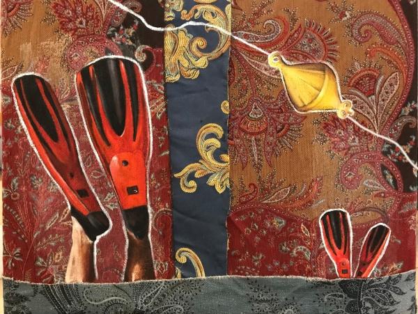 [labelTo=ITA2] ITA [/labelTo] /  [labelTo=ENG2] ENG [/labelTo]  [labelBlock=ITA2]sos (2021), olio e acrilico su collage di ritagli di stoffa, 50x40 cm  Questo lavoro è stato realizzato a partire da un telaio nudo, su cui viene montata una tela costituita da scampoli di tessuti diversi: il motivo presente sul patchwork-tela ha suggerito l'idea per il soggetto.[/labelBlock] [labelHide=ENG2]sos (2021), oil and acrylic on fabric patchwork, 50x40 cm  This artwork was created starting from a naked frame and some fabric scraps. With the fabric I realized an homemade patchwork-canvas consisting, whose colors and texture suggested to me the idea for the subject.[/labelHide]