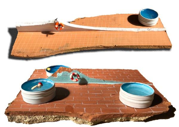 [labelTo=ITA1] ITA [/labelTo] /  [labelTo=ENG1] ENG [/labelTo]  [labelBlock=ITA1]Mini pools (2021), laterizio, alluminio, resina, acrilico e pasta da modellare  Vecchi mattoni forati rotti e abbandonati lungo un viottolo di campagna sono stati la base su cui ricreare ambienti in miniatura, suggeriti dalla forma dei mattoni stessi.  In alto: Pool n.1 In basso: Pool n.2[/labelBlock][labelHide=ENG1]Mini pools (2021), Brick, aluminum, resin, acrylics and modeling paste  Old hollow bricks, broken and abandoned along a countryside path, were the basis on which I recreated miniature environments, suggested by the shape of the bricks themselves.  Above: Pool n.1 Under: Pool n.2 [/labelHide]
