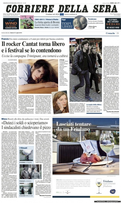 CAMPAGNA PUBBLICITARIA SU CORRIERE